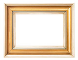 Vintage golden picture frame isolated white background