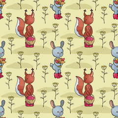 Autumn seamless pattern with cute forest animals in doodle style. Colorful vector background. © olga_a_belova