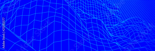 Canvas Donkerblauw Digital landscape with mountains or hills made of line grid