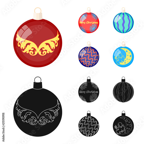 Aluminium Abstractie New Year Toys cartoon,black icons in set collection for design.Christmas balls for a treevector symbol stock web illustration.