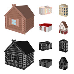 The museum building, a three-story hotel, a stable at the racecourse, a residential cottage. Architectural and building set collection icons in cartoon,black style vector symbol stock illustration web © pandavector