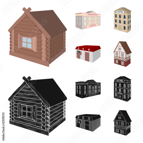 The museum building, a three-story hotel, a stable at the racecourse, a residential cottage. Architectural and building set collection icons in cartoon,black style vector symbol stock illustration web