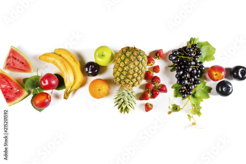 Assorted fruits on isolated background