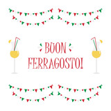 Cute cartoon vector card for italian traditional august holiday Ferragosto with italian flags, garland and colorful cocktails with straws.  - 215205186