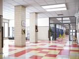 school hallway interior 3d illustration - 215206137