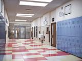 school hallway interior 3d illustration - 215208577