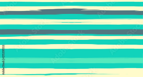 Green, Turquoise Vector Watercolor Sailor Stripes Suit Seamless Summer Pattern. Horizontal Brushstrokes Trace Vintage Grunge Textile Clothe Design. Ink Painted Trendy Trace, Geometric Uneven Prints.
