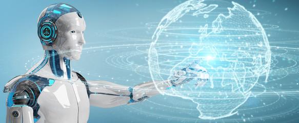 White humanoid using globe network hologram with Europe map 3D rendering © sdecoret