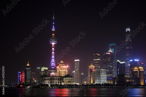 Foto Spatwand Shanghai Shanghai cityscape by night in China