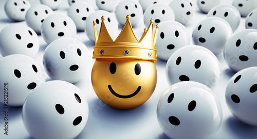 Leinwandbild Motiv Goldener Smiley mit Krone in Gruppe