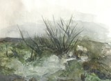 spring landscape with trees, snow lies, trees are reflected in the water, watercolor painting