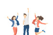 Happy people celebrating on a white background. Vector illustration.
