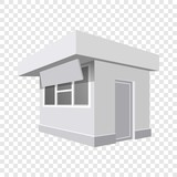 Small shop mockup. Realistic illustration of small shop vector mockup for on transparent background - 215231744
