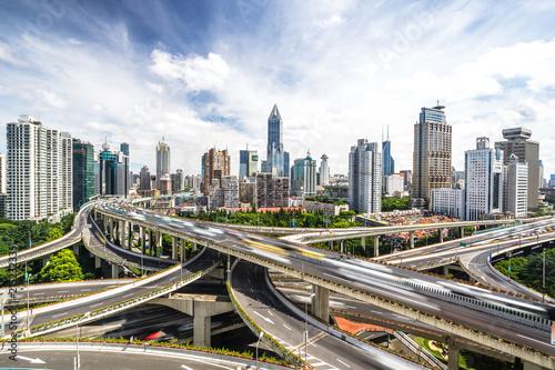 Naklejka panoramic city skyline in shanghai china