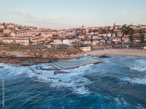 Aluminium Sydney Aerial view of South Curly Beach rock pool and the coastline. Sydney, Australia.