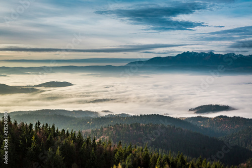 Foggy and cold sunrise in the Tatra Mountains in autumn