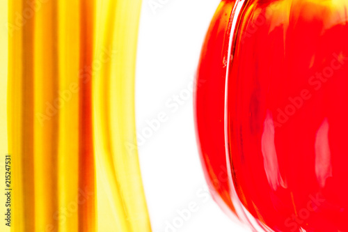 Abstract art graphic picture of yellow and red glass bottles