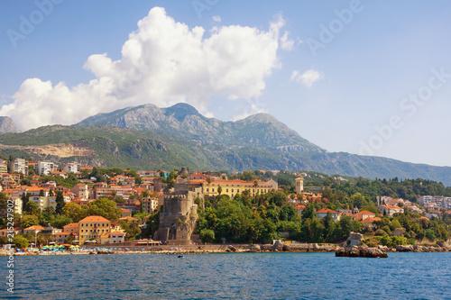 Foto Spatwand Zomer Beautiful Mediterranean landscape. Montenegro. View of coastal town of Herceg Novi located at the foot of Mount Orjen