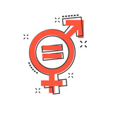 Vector cartoon gender equal icon in comic style. Men and women sign illustration pictogram. Sex business splash effect concept. - 215250306
