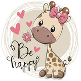 Cute Cartoon Giraffe with flower - 215251525