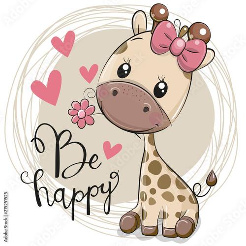 Fototapeta Cute Cartoon Giraffe with flower