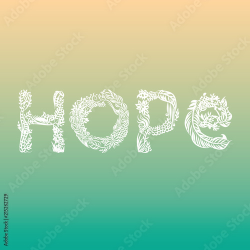 Aluminium Positive Typography Hope illustrated word