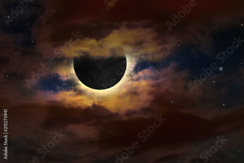 Full moon on sky surrounded by colorful glow, on July 27, 2018