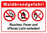 ks367 Kombi-Schild - Waldbrandgefahr: Rauchen, Feuer und offenes Licht verboten! - DIN A1 A2 A3 A4 Poster - xxl g6355
