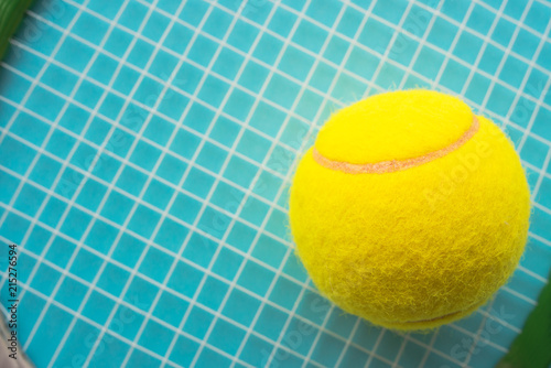 Aluminium Tennis Tennis ball and racquet close up