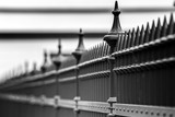 Metal fence with sharp tips - 215277748