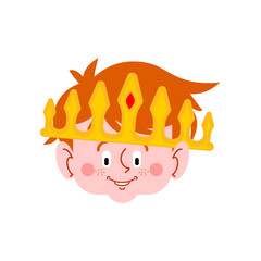 Little prince face. Boy in large crown. Royal son. Vector illustration