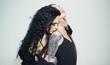 Leinwanddruck Bild - Lesbian concept. Lesbian couple in love. Sensual woman kiss lesbian girlfriend. Lesbian partners and relations. The spirit of free love