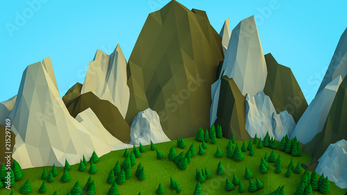 Aluminium Olijf low polygonal Christmas trees and mountains. Landscape. Computer graphics