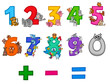 educational numbers set with cartoon animals - 215303533