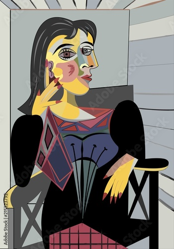 Colorful abstract background, cubism art style, woman on chair - 215323792