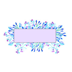Frame with space for inscription. Watercolor flowers in purple and blue tones