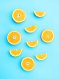 Oranges fruit on a blue background.