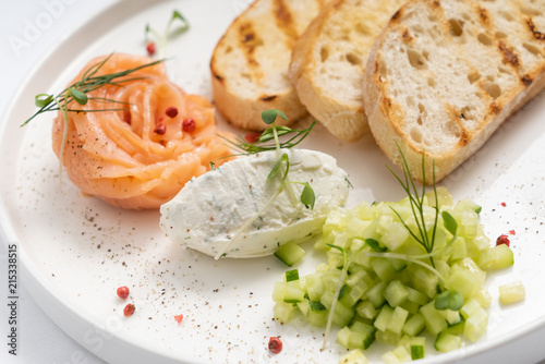 toasts with smoked salmon