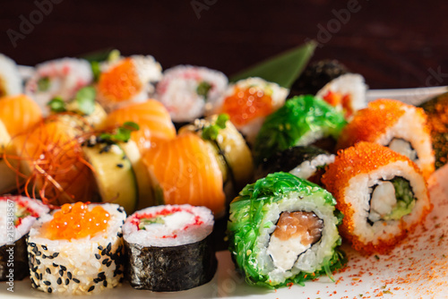 Foto Spatwand Sushi bar sushi set with soy sauce