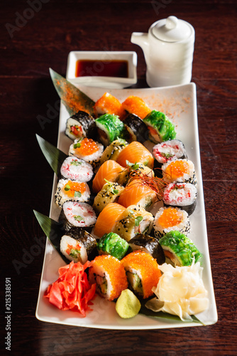 sushi set with soy sauce