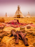 American native tent camp teepees - 215343174
