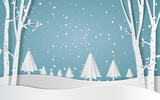 Merry christmas,Snow forest. pines in winter and mountain Paper vector Illustration - 215347538