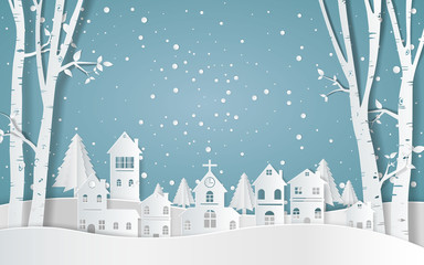 winter with homes and snowy paper art . beautiful scenery in the design vector