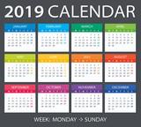 2019 Calendar - vector illustration - 215357359