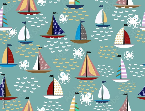 Fototapeta Cute ships, sailboats in the sea, waves and octopus vector seamless pattern.