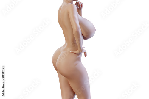 © PixlMakr - Fotolia.com Naked busty woman from the side on white background