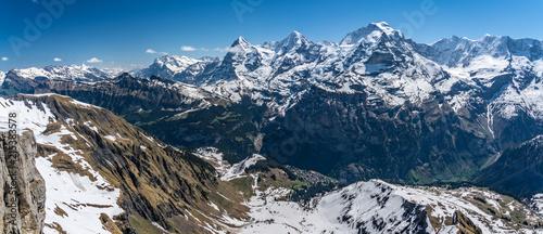 Switzerland, snow alps panorama view - 215383578