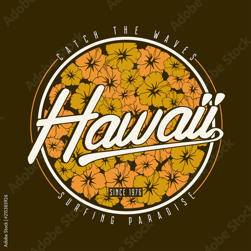 Hawaii T Shirt Typography Floral Surfing Print With Hibiscus Flower