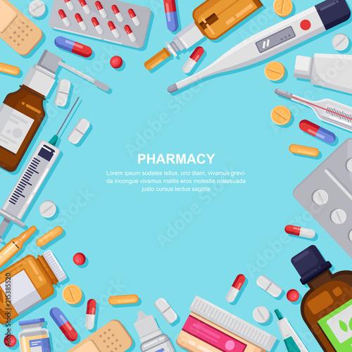 Pharmacy frame with pills, drugs, bottles. Drugstore vector illustration. Medicine, healthcare banner, poster background
