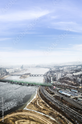 Aluminium Seoel Seoul cityscape, skyline, high rise office buildings in Seoul city, winter daylight Crack on an ice surface of frozen Han river top view in winter, Seoul, Republic of Korea, in fog winter